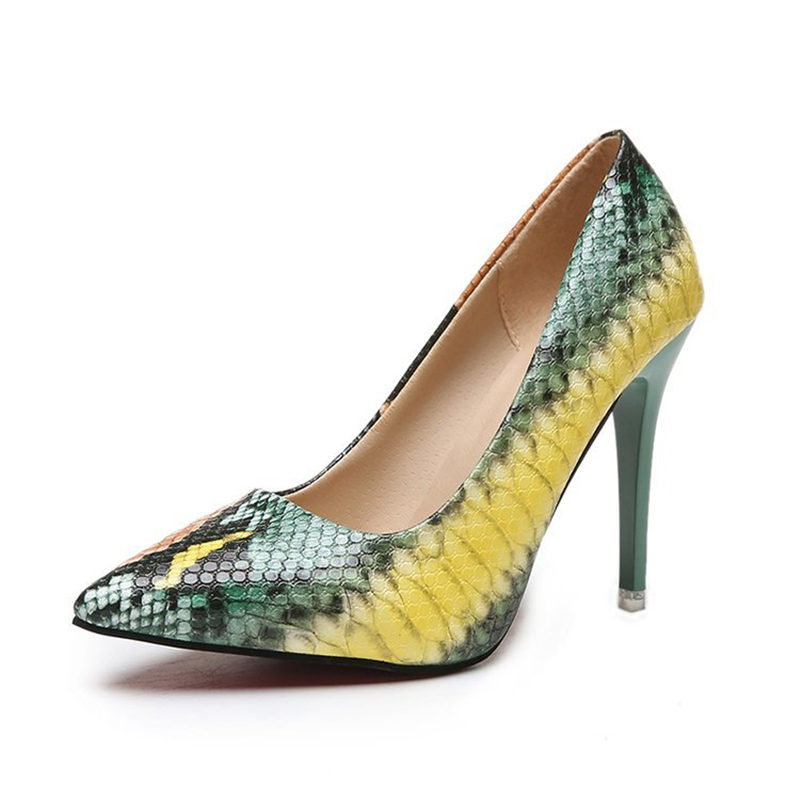 New PU Leather High Heels Women Pumps Pointed Toe Sexy Snake Print Shoes Woman Zapatos De Mujer Big Size 35-42 Women Shoes