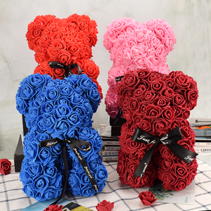 Nice Valentines Day Gift 25cm Red Rose Bear Rose Flower Artificial Decoration Christmas Gifts Women Valentines Gift Home Decor(China)