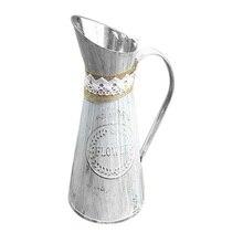 Винтажная ваза старый цветок баррель цветочный магазин мебели ручной работы веревка металлический цветочный горшок искусство украшения дома