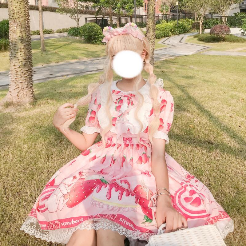 Summer JSK Sweet Strawberry Lolita Dress Pink Lolita Dress Pink Sweet Light Lolita Doll Collar Girl Lolita Op Dress