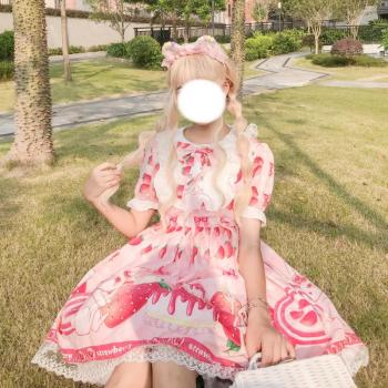 Summer JSK sweet Strawberry lolita dress Pink Lolita dress pink sweet light Lolita doll collar girl Lolita op dress набоков в lolita