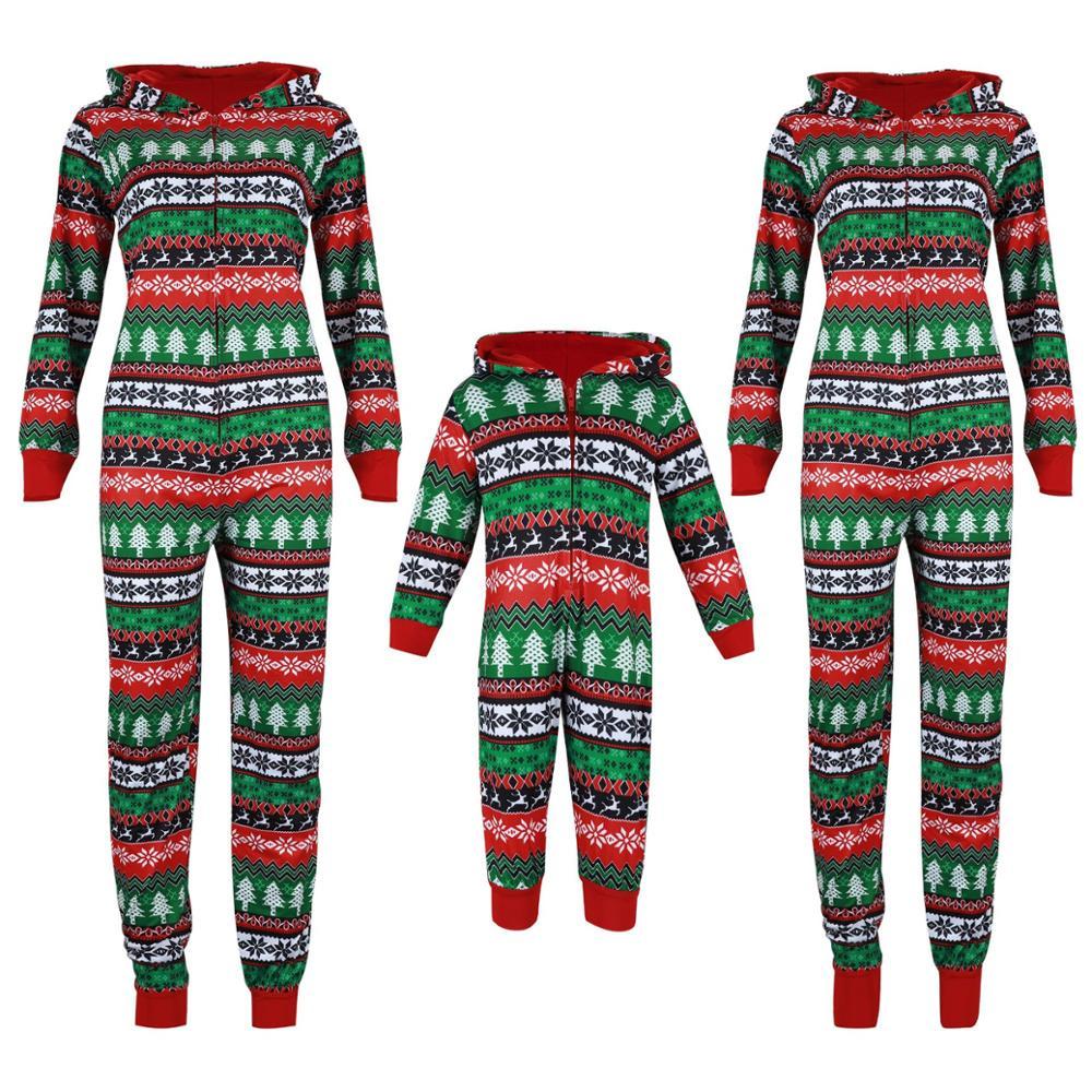 Christmas Pajamas Family Xmas Nightwear Print Hooded Kids Romper Dad Mother Daughter Jumpsuit Fashion New Year Sleep Jumpsuit