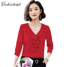 Dushicolorful Chiffon Blouse Sexy V Neck  Casual Long Sleeve Ruffled shirt women blouse solid color high quality red ladies tops