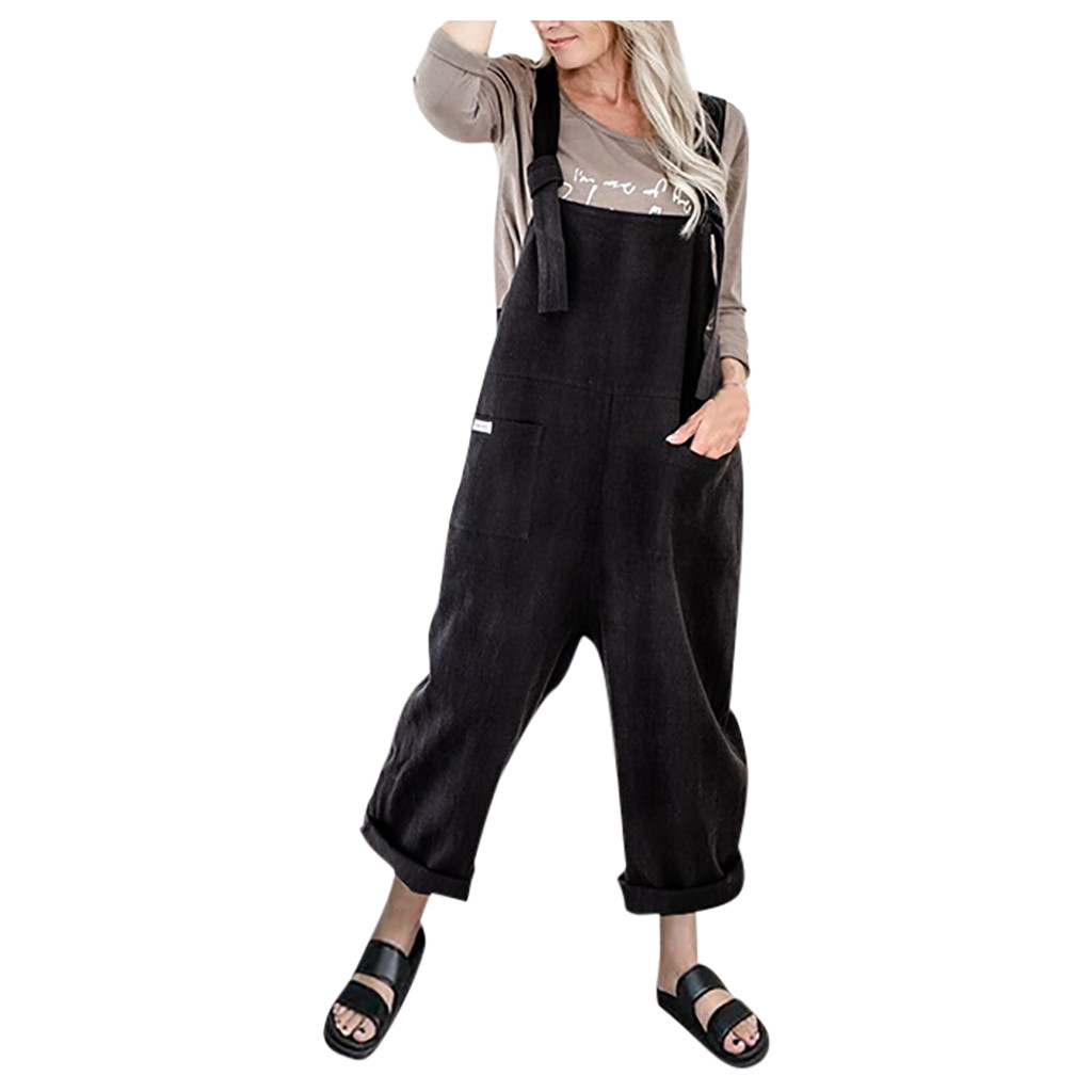 Vintage Suspender Rompers Womens Jumpsuit Fashion O-neck Camisole Rompers Playsuit Solid Pockets Overalls Long Playsuits 2