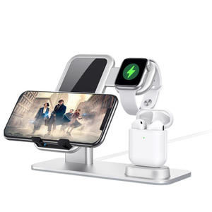 Charging-Stand Wireless-Charger Dock Airpods Iwatch Apple 15W Aluminum 3-In-1 for Qi