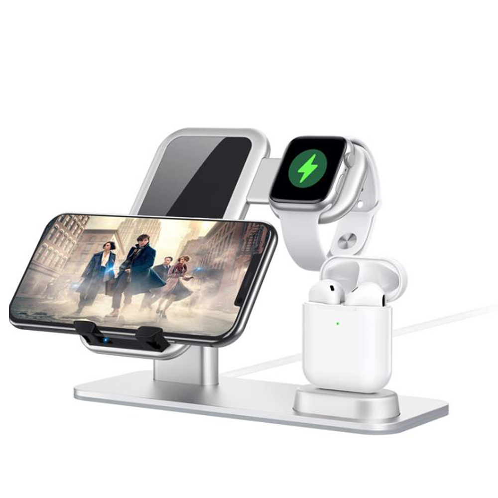 3 in 1 Aluminum Wireless Charging Stand for Apple iWatch, Charging Station for Airpods, 15W Qi Wireless Charger Dock for Apple