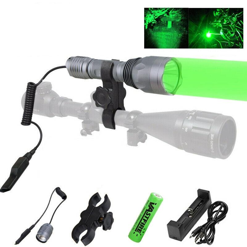 caca verde lanterna 250 quintal engrenagem de caca tatico tocha noite luzes rifle montagem interruptor remoto