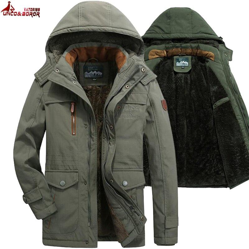 Winter Jacket Men Thick Wool Liner Multi-pocket Business Casual Cotton Parkas Man Snow Coat Windbreaker Fur Hooded Overcoat