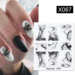 1 Sheet Harunouta Black Ink Painting Nail Water Decals Summer Theme Fruit Flower Alphabet Leaves Nail Art Water Stickers