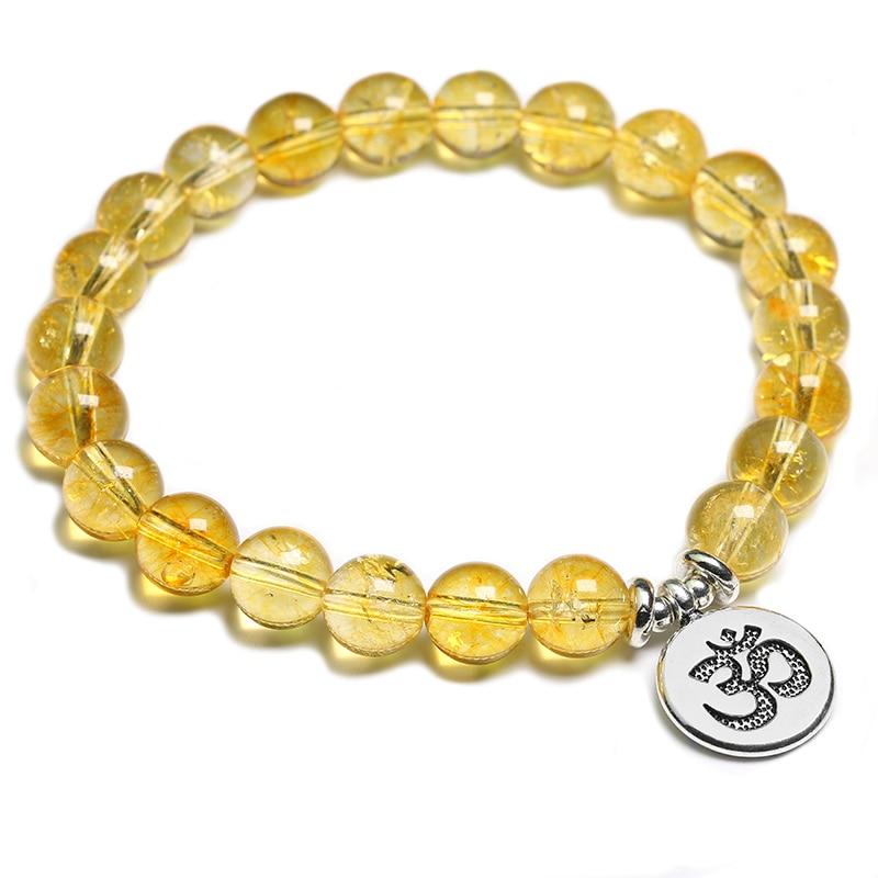 8MM Citrine Buddhist Bead Bracelet Mala Cuff Gemstone Energy Reiki Handmade