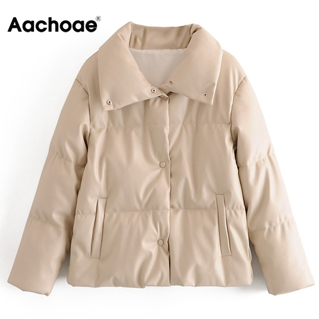 Women PU Leather Parkas Fashion High Street Solid Faxu Leather Coats Elegant Winter Thick Cotton Jackets Loose Outerwear 3