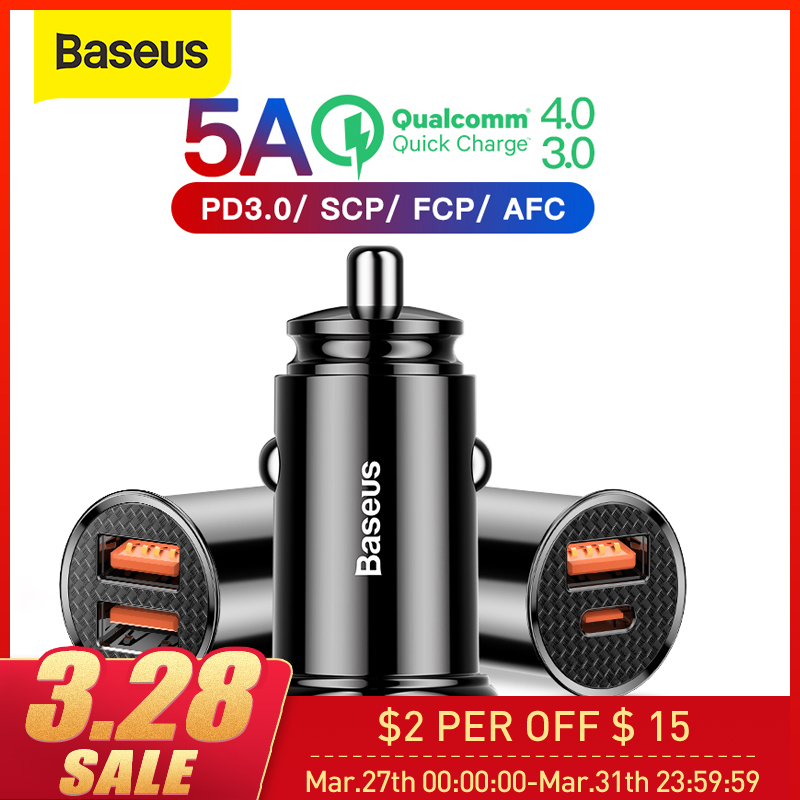 Baseus 30W Car Charger with Type C PD Fast Charger For iPhone 11 Pro Max Quick Charge 4.0 3.0 SCP AFC For HUAWEI Xiaomi Samsung