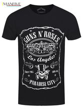 Guns N Roses Paradise City Men's Black T-shirt 100% Cotton Short Sleeve O-Neck Tops Tee Shirts Men'S T-Shirt 2019 Newest s-3xl paradise city