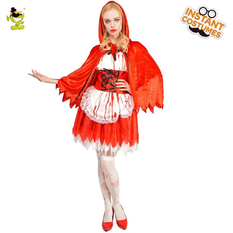 Girls Zombie Little Miss Riding Hood Blood Halloween Fancy Dress Costume Cape