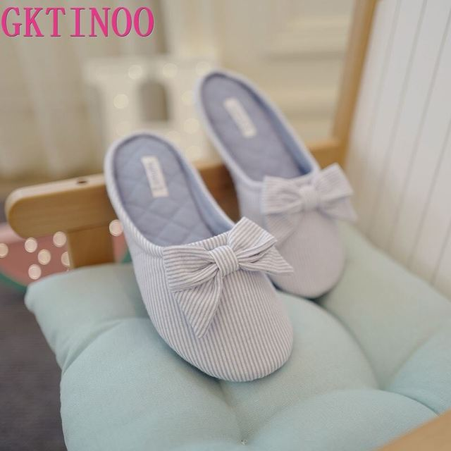 Cute BowTie Floor Slippers Shoes Women Non Slip Shoes Breathable Home House Indoor Slippers Bedroom Spring Autumn