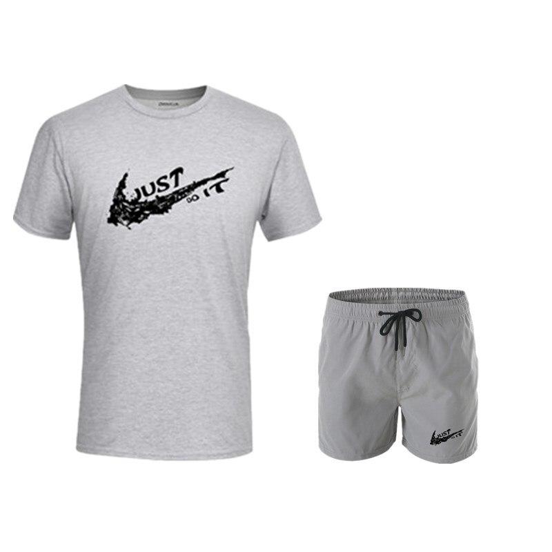 2019 Summer Creative Printed T-shirt Suit Just Men It Men-Style Set