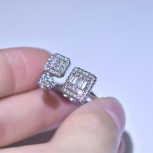 New Hot Style Unique Women Rings For Women High Quality AAA Clear White CZ Stone Luxury Fashion Anel Open Ring(China)