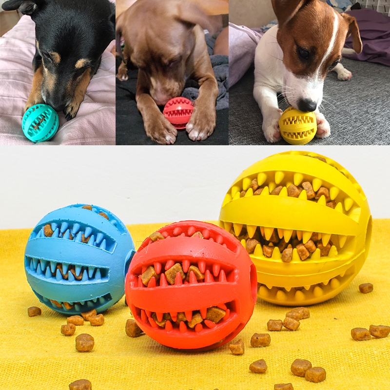 New Pet Toys 5CM Dog Toys Interactive Elasticity Ball Natural Rubber Leaking Ball Tooth Clean Ball Cat Dog Chew Interactive Toys img1