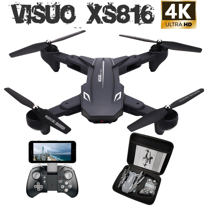 Visuo XS816 RC Drone with 50 Times Zoom WiFi 4K Dual Camera Optical Flow Quadcopter Foldable Selfie Drone