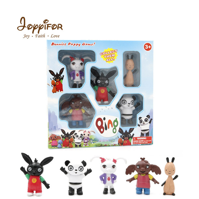 2019 5PCS/Lots Bing Bunnyy Cartoon Mini Rabbit Panda Flop Sula PVC Mini Figures Toys Educational Toys Dolls for Kids Baby FriendAction & Toy Figures
