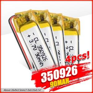 3.7V 90mAh Rechargeable Battery 350926 Lithium Li-Po Polymer Rechargeable Battery For MP3 MP4 GPS Bluetooth earphone speaker(China)