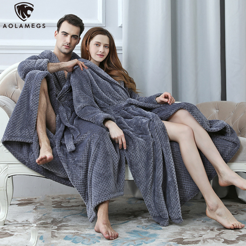Aolamegs Bathrobe Solid Color Flannel Night Gown Long Sleepwear Cozy Soft Warm Advanced Baggy Pregnant Homewear Couple Pajamas