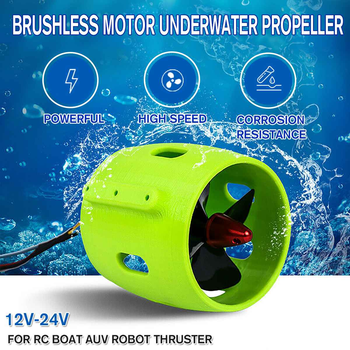 NEW 12V 24V 17A Underwater Thruster Brushless Motor 4 Blade Propeller Propulsion 100-300W Parts For ROV RC Bait Tug Boat
