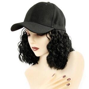 Image 2 - Perruque Bob synthétique courte casquette de Baseball, perruque en Fiber noire et brune résistante à la chaleur pour femmes