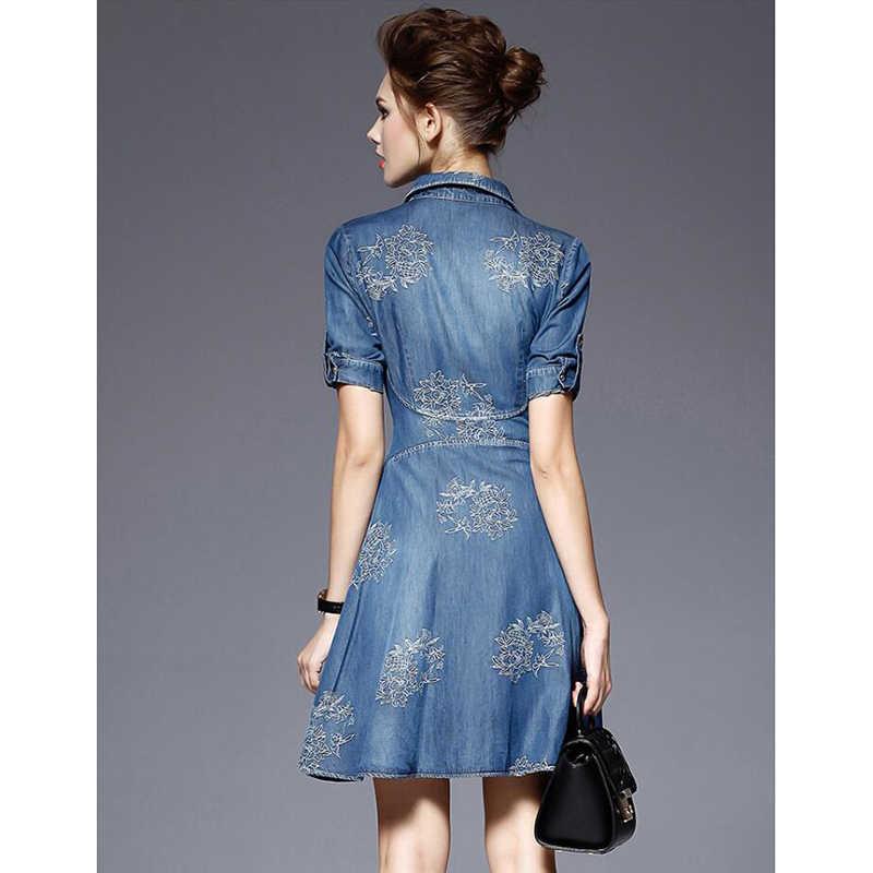 Новое Женское платье большого размера 2019, весенне-осенние высококачественные Ретро платья с коротким рукавом, тонкие джинсовые платья средней длины с вышивкой, женские
