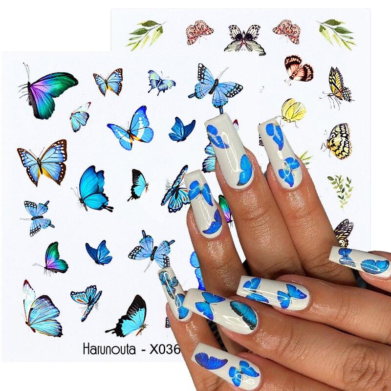Летние Водные Наклейки Harunouta в виде бабочек, цветок, алфавит, листья, самодельные наклейки для дизайна ногтей, декоративные слайдеры, маникю...