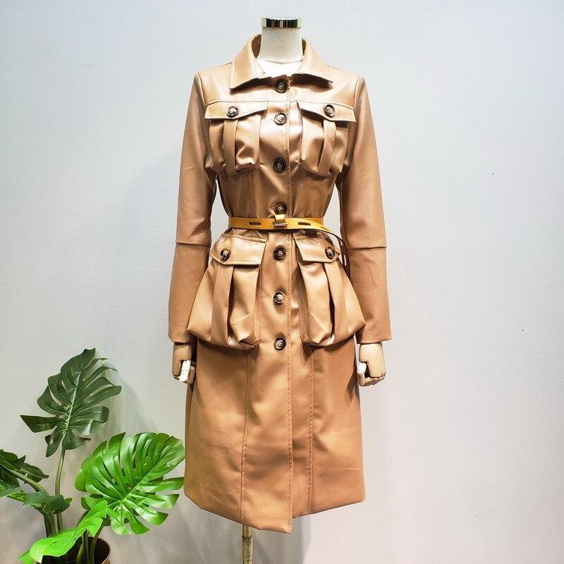 2019 haute rue multi-poche Imitation cuir longs revers bouton décoration mince en cuir Pu coupe-vent manteau F386