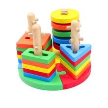 Деревянные детские геометрические формы s соответствующие четыре набора колонны строительные блоки головоломки формы четыре набора колонны соответствующие рыбалки-в