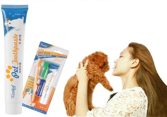 Pet Products Dog Supplies Pet dog Toothbrush Set Puppy Toothbrush Toothpaste Dog Cat Tooth Back Up Brush Care Set image
