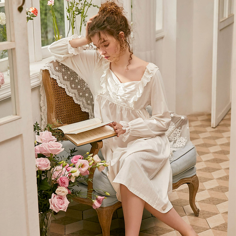 New Spring Cotton Princess Vintage Women's  Lace Long Nightgowns Pink /White Color Elegant Female Sleepshirt Loose Night Dress