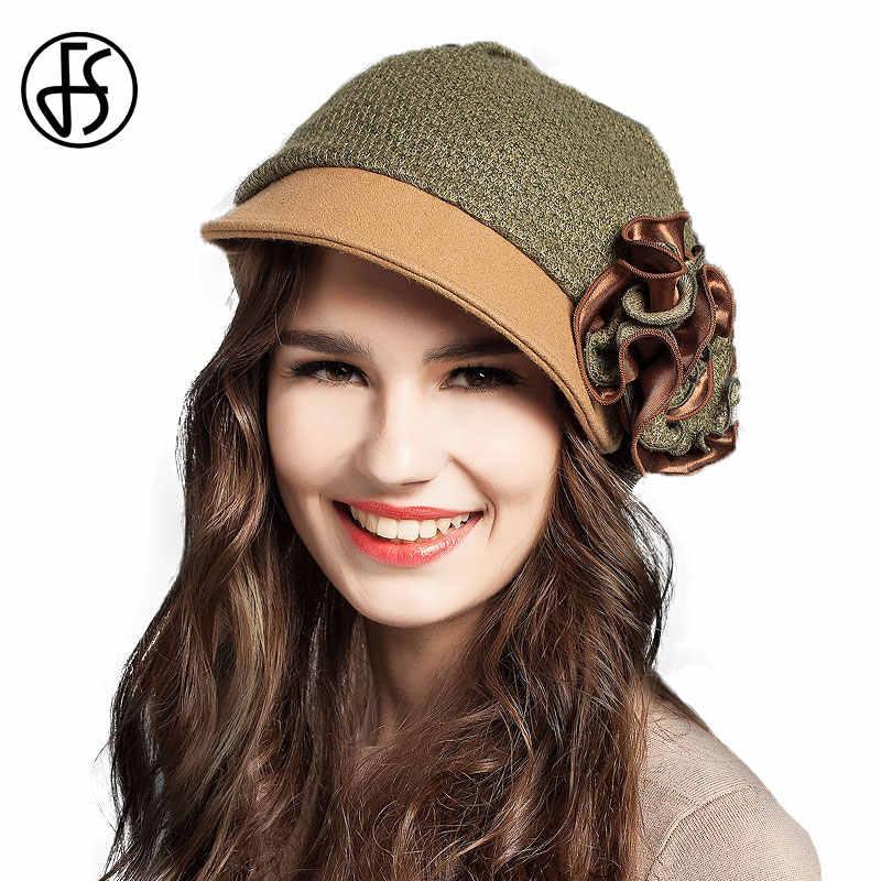 FS خمر الشتاء قبعات بيريه للنساء أنيقة الصوف القبعات الفرنسية الدافئة سيدة الموضة الجيش الأخضر براون الأرجواني فاتحة فام Feutre
