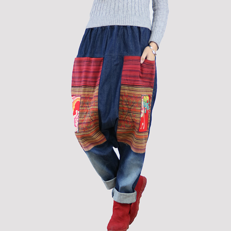 2020 Autumn Ethnic Patchwork Printing Flower Jeans Women Embroidery Drop Crotch Baggy Pants Elastic Waist Bleached Trousers Girl