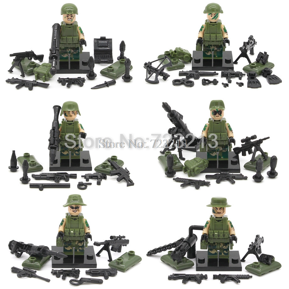 Image 4 - Wholesale 60pcs/lot SWAT Figure Military Set Building Blocks Sets Model Bricks Educational Toys Children No Original Box SY11101-in Blocks from Toys & Hobbies
