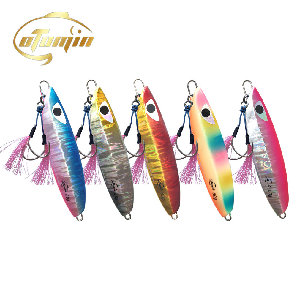 Otomin Slow Metal Jigging With Hooks Sinking Glow Jigs 5 Colors 60g80g100g150g200g250g300g Falling Luminuous Lure Fishing Jigs