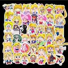 50pcs/pack Not Repeating Yellow Fashion Cute Anime Cartoon Sailor Moon Skateboard Suitcase Notebook Waterproof Graffiti Sticker