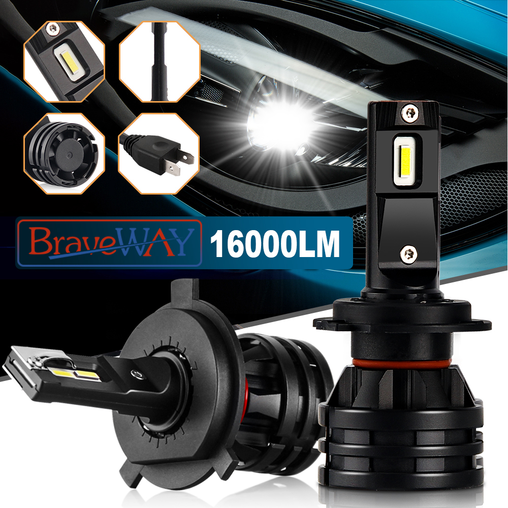 BraveWay 2019 New Car Lights Led H7 16000LM H11 LED Lamp for Cars Headlight H1 H4 H8 H9 9005 9006 HB3 HB4 Turbo H7 LED Bulbs 12V