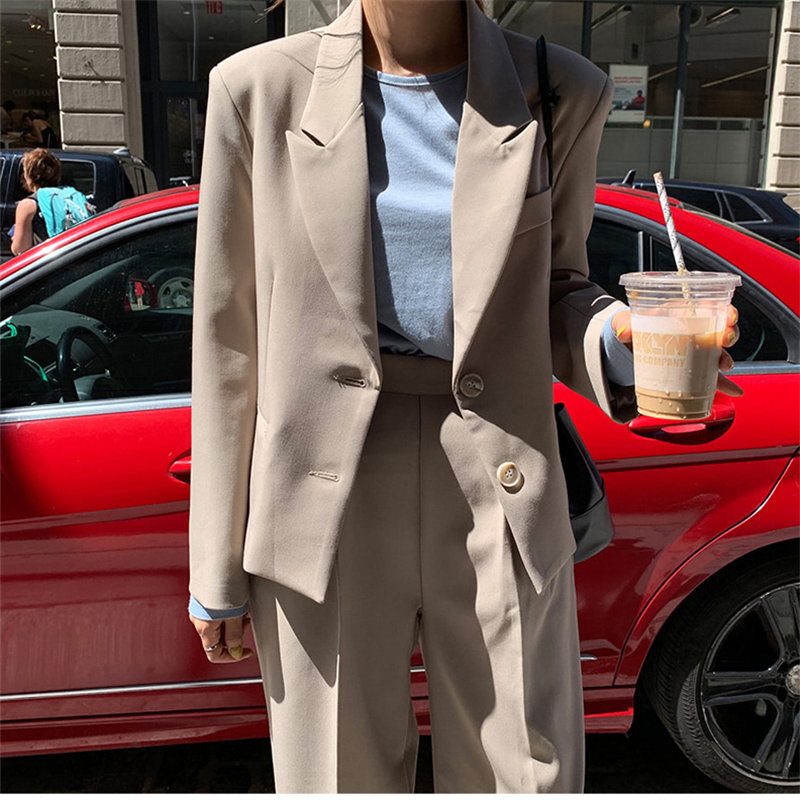 HziriP 2020 Beige Retro Chic Solid Gentle Lady Elegant OL Blazers + Vintage Casual All Match Straight Pants Set 2 Pieces Sets