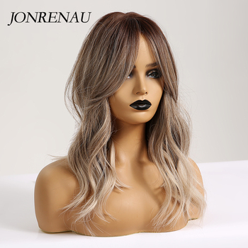 JONRENAU 16 Inches Synthetic Platinum Blonde Hair Long Natural Wave Ombre Brown Mixed Color Party Wigs for White/Black Women 3