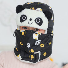Winter Bomber Hats for Girls Boy Cap with Scarf Neck Masks Animal Cotton Snow Earflaps Russian Hat Mask Warm
