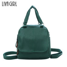 Large Capacity Simple Women Leather Backpacks Girls Multifunction Travel Solid Color Shoulder Bags Rucksacks Brown Black Green(China)