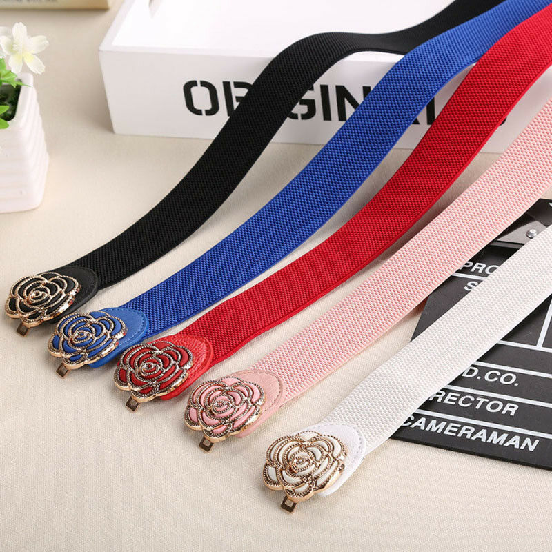 2019 Women Lady Metallic Retro Flower Elastic Stretchy Dress Narrow Waist Belts Band Red Blue Black White Pink