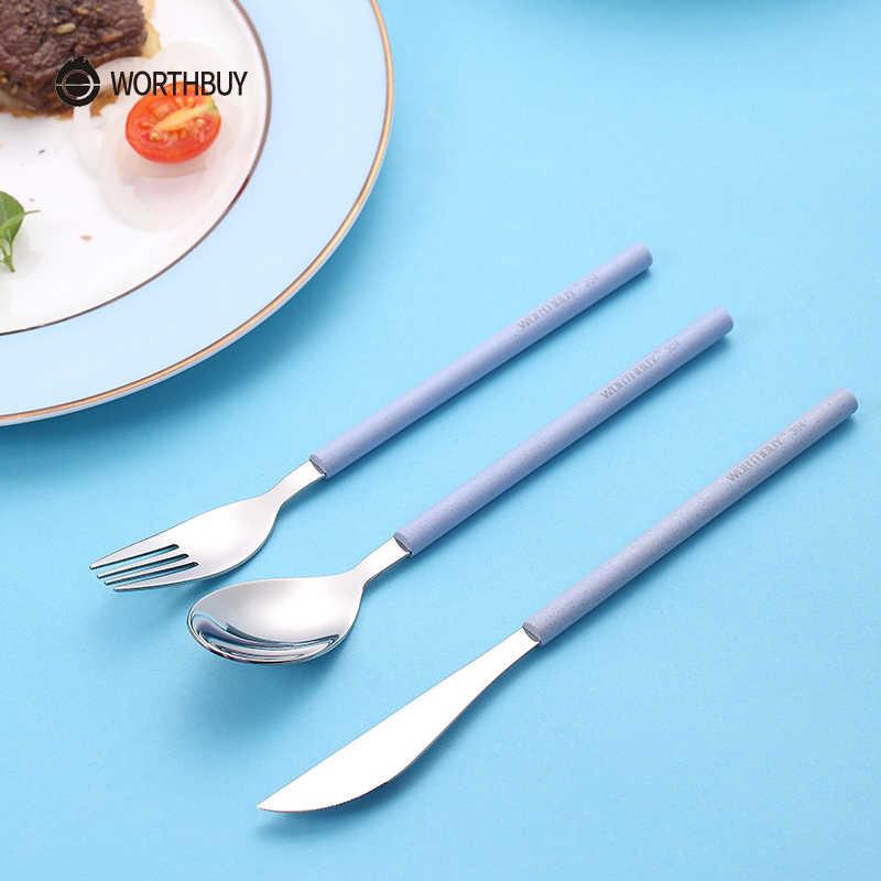 WORTHBUY Besteck Set 304 Edelstahl Geschirr Mit Weizen Stroh Griff Messer Gabel Löffel Geschirr Küche Geschirr