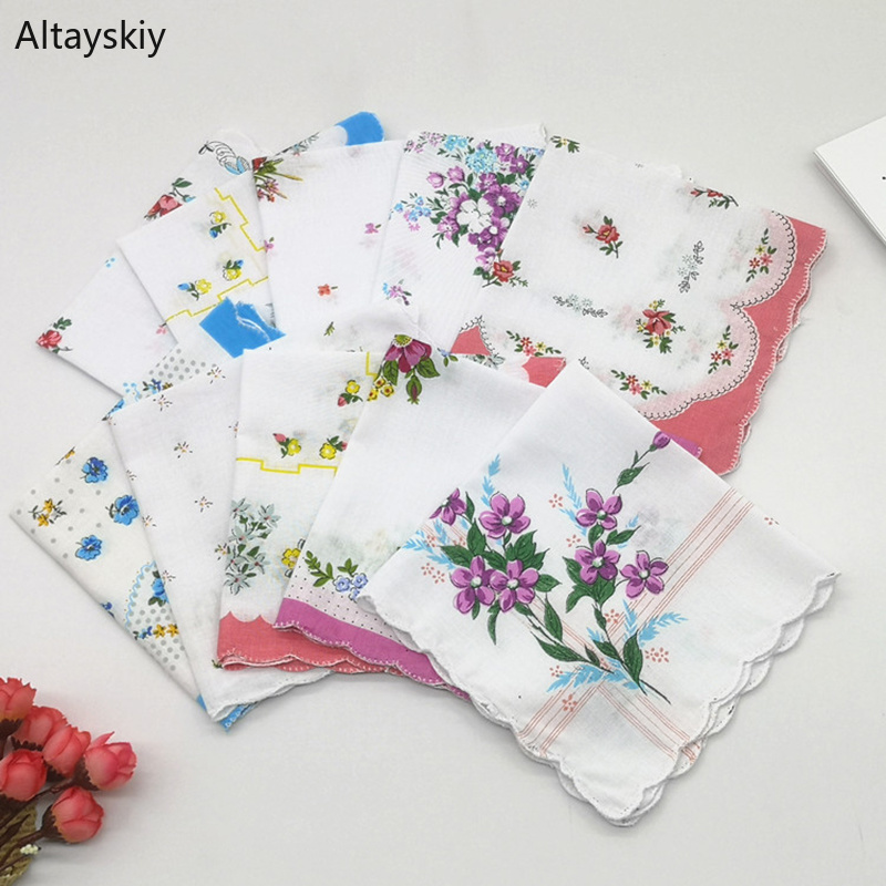Handkerchiefs Women Classic Elegant Soft Cotton Floral Printing Simple Womens Square Handkerchief National Style Leisure Daily