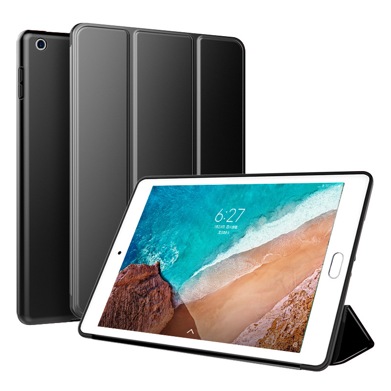 Black Black Trifold Leather Smart Case for iPad 10 2 7th generation 2019 Slim Translucent PC Back Cover