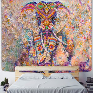 Colorful Pearl Elephant Tapestry 3D Mosaic Style Hippie Boho Wall Tapestries Mandala Fabric Mat Living Room Decor