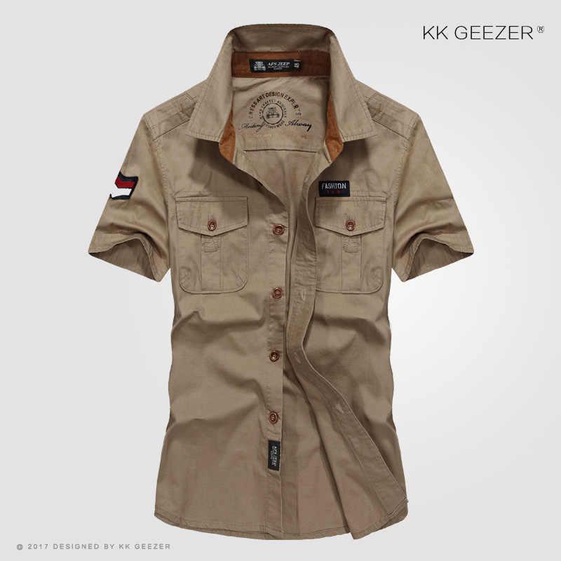 Camicia Degli Uomini Militare Strumento Camicette Blu 100% Cotone Manica Corta di Alta Qualità Army Green Maschio Casual Camicia di Alta Qualità Dropshipping